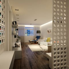 Sala de estar e jantar: Salas de estar  por C2HA Arquitetos