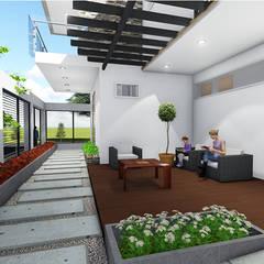 VIVIENDA UNIFAMILIAR : Salas / recibidores de estilo  por DECOESCALA ARQ JHON LEAL, Minimalista Compuestos de madera y plástico