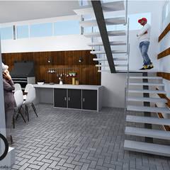 CASA RURAL:  Portal exterior- Área social-   Apartamento pequeño : Casas de estilo  por DECOESCALA ARQ JHON LEAL