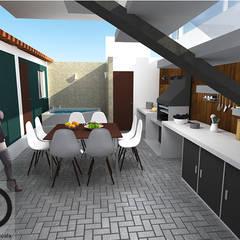 CASA RURAL:  Portal exterior- Área social-   Apartamento pequeño : Comedores de estilo  por DECOESCALA ARQ JHON LEAL, Moderno