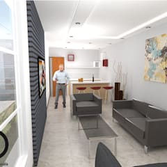 CASA RURAL:  Portal exterior- Área social-   Apartamento pequeño : Salas / recibidores de estilo  por DECOESCALA ARQ JHON LEAL,