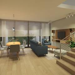 Diseño Interior Casa La Reina: Livings de estilo  por MM Design