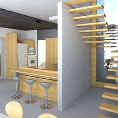 Cozinha e escada por Oria Arquitetura & Construções Industrial Madeira Efeito de madeira