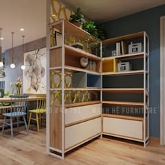 Sử dụng vách ngăn kệ trang trí để tạo không gian riêng giữa phòng bếp với phòng khách và phòng ăn:  Tường by Công ty TNHH Nội Thất Mạnh Hệ