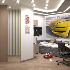 Интерьер пятикомнатной квартиры 120 м² в ЖК «Дом на Набережной» для молодой многодетной семьи: Спальни для мальчиков в . Автор – ИнтеРИВ, Модерн