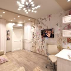 Интерьер пятикомнатной квартиры 120 м² в ЖК «Дом на Набережной» для молодой многодетной семьи: Спальни для девочек в . Автор – ИнтеРИВ