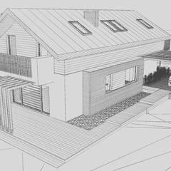 Dom w Konstantynowie Łódzkim - Dziektarzew, łódzkie: styl , w kategorii Taras zaprojektowany przez Budownictwo i Architektura Marcin Sieradzki - BIAMS