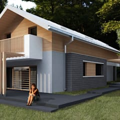 Casas ecológicas de estilo  por Budownictwo i Architektura Marcin Sieradzki - BIAMS