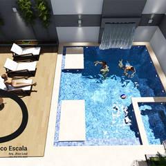 PISCINA VIVIENDA UNIFAMILIAR: Terrazas de estilo  por DECOESCALA ARQ JHON LEAL