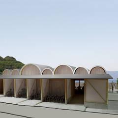 連続するアーチ屋根のレストラン 交流施設O: 平野崇建築設計事務所 TAKASHI HIRANO ARCHITECTSが手掛けたレストランです。