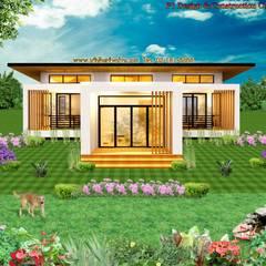 บ้าน 1 ชั้น:  บ้านและที่อยู่อาศัย by บริษัท พี นัมเบอร์วัน ดีไซน์ แอนด์ คอนสตรัคชั่น จำกัด