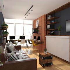Interior Fit-Out for 1-BR Condo Unit, Serendra:  Living room by Structura Architects,