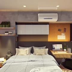 Interior Fit-Out for 1-BR Condo Unit, Serendra:  Small bedroom by Structura Architects,