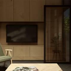 PROJEKT KAWALERKI W STYLU NOWOCZESNYM | Połączenie wnętrza domu z przestrzenią na zewnątrz: styl , w kategorii Taras zaprojektowany przez STTYK - Pracownia Architektury Wnętrz i Krajobrazu