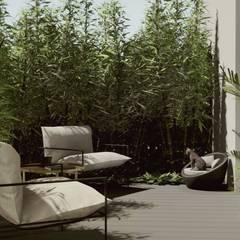 ARANŻACJA TARASU W STYLU NOWOCZESNYM | Połączenie wnętrza domu z przestrzenią na zewnątrz: styl , w kategorii Taras zaprojektowany przez STTYK - Pracownia Architektury Wnętrz i Krajobrazu
