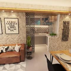 Projeto de Arquitetura de Interiores de Aparteamento  Industrial e HISPTE: Salas de estar  por Gelker Ribeiro Arquitetura | Arquiteto Rio de Janeiro