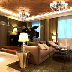Luxury style for Choa Chu Kang Crescent HDB:  Living room by Singapore Carpentry Interior Design Pte Ltd