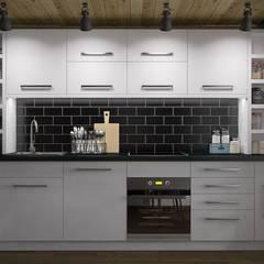 Однокомнатная квартира с антресолью: Кухни в . Автор – Novik Design