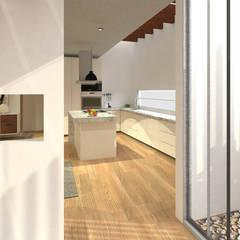 011: Pasillos y recibidores de estilo  por PV Arquitectura