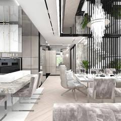 strefa dzienna domu - jadalnia i kuchnia: styl , w kategorii Jadalnia zaprojektowany przez ARTDESIGN architektura wnętrz