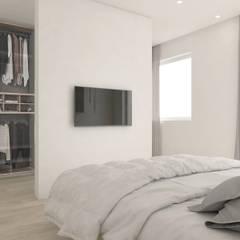 La matrimoniale con il setto della cabina armadio: Camera da letto in stile  di DFG Architetti