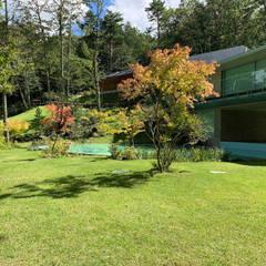 Jardines en la fachada de estilo  por (有)ハートランド