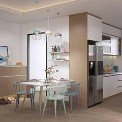 Bộ bàn ăn được đặt sát bên hệ thống tủ bếp:  Nhà bếp by Công ty TNHH Nội Thất Mạnh Hệ