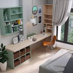 Tổng thể không gian bàn làm việc của phòng ngủ master:  Phòng ngủ by Công ty TNHH Nội Thất Mạnh Hệ