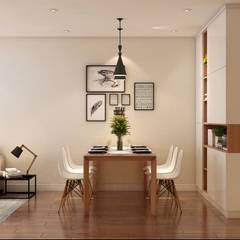 Bộ bàn ăn được đặt kế bên không gian phòng khách:  Nhà bếp by Công ty TNHH Nội Thất Mạnh Hệ