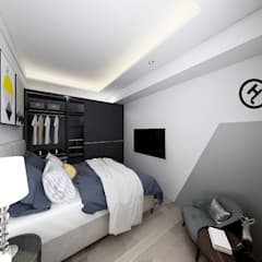 Dormitorios pequeños de estilo  por 知森數位開發有限公司 , Escandinavo Compuestos de madera y plástico