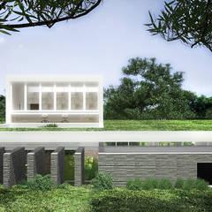 Jardines en la fachada de estilo  por RRA Arquitectura