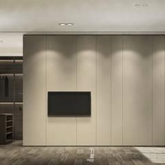 臥房電視牆面:  牆面 by 竹村空間 Zhucun Design
