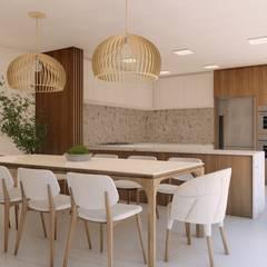 Casa Nanette: Salas de jantar  por Studio Calla Arquitetura,Minimalista