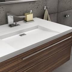 Beton architektoniczny w łazience: styl , w kategorii Łazienka zaprojektowany przez Luxum