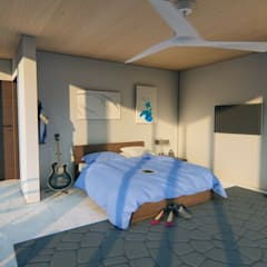 Render interior-2: Casas multifamiliares de estilo  por JV RVT