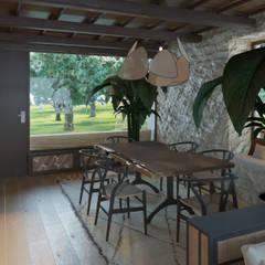 Salón de una casa rural: Salones de estilo  de NAROAN