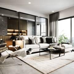 Thiết kế nội thất căn hộ Sunrise Cityview - Phong cách hiện đại sang trọng:  Phòng khách by ICON INTERIOR