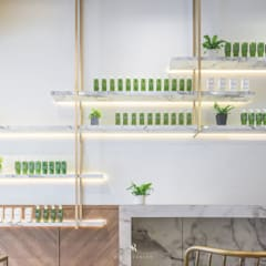養食|Living-a-better-life Organic Grocery:  牆面 by 理絲室內設計有限公司 Ris Interior Design Co., Ltd.
