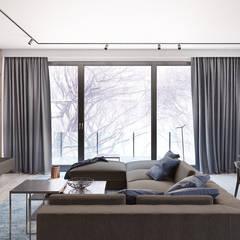 Apartament w Warszawie -CIEMNY : styl , w kategorii Salon zaprojektowany przez Exit Pracownia Projektowa