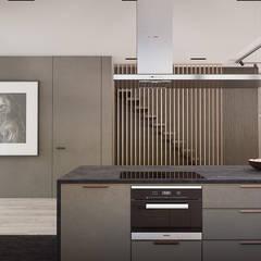 Apartament w Warszawie -CIEMNY : styl , w kategorii Aneks kuchenny zaprojektowany przez Exit Pracownia Projektowa