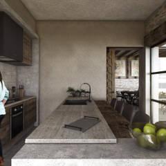 SAHAI UXAN: Cocinas equipadas de estilo  por Mouret Arquitectura