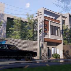 Nhà phố 1 mặt tiền hướng tây:  Nhà gia đình by AcilB Design,