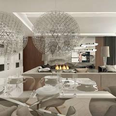pokój dzienny z jadalnią w apartamencie: styl , w kategorii Jadalnia zaprojektowany przez ARTDESIGN architektura wnętrz