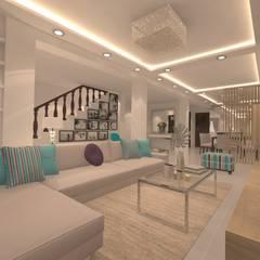 SALA - COMEDOR * FAM VARGAS: Salas de entretenimiento de estilo  por Giovanna Solano - DLuxy Muebles Design
