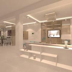 SALA - COMEDOR * FAM VARGAS: Salas de entretenimiento de estilo  por Giovanna Solano - DLuxy Muebles Design, Moderno Aglomerado