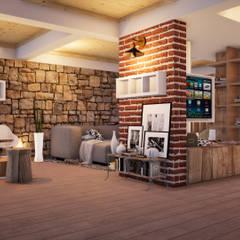 Sala / Espaço de Lazer Salas de estar rústicas por ORMIGON ARCHI Rústico Pedra