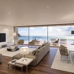 CASA SP1 - Moradia em Sesimbra - Projeto de Arquitetura: Salas de estar  por Traçado Regulador. Lda,Moderno Madeira Acabamento em madeira