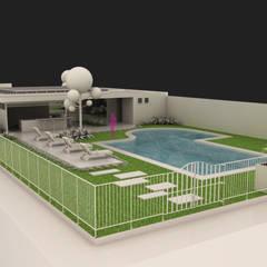 Terraza Amazcala 2: Albercas de jardín de estilo  por 9 Viento Arquitectos