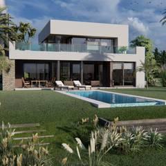 PROYECTO EN LA VIRAZON - NORDELTA: Casas pequeñas de estilo  por Rocha & Figueroa Bunge arquitectos,Minimalista Ladrillos