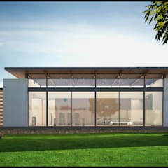 Fachada Norte: Casas de campo de estilo  por Geometrica Arquitectura